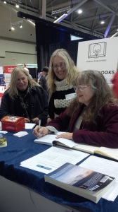 Sharon signing Beyond Blood at Inspire Book Fair, November 2014 With authors Madeleine Harris-Callway and Kathryn R